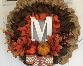 Pumpkin Fall Burlap Wreath