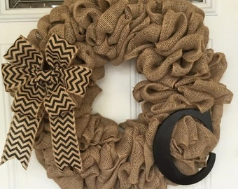 Burlap and Black Wreath