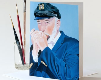 """Greeting Card 5 x 7 in. Of The Original Painting """"The Harmonica Player"""" Painted By Award-Winning Artist Ingrid Lockowandt"""