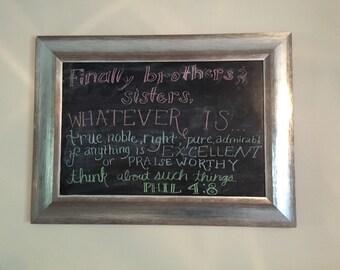 Homemade Framed chalkboard