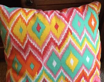 Retro Diamond Pattern Multicolored Throw Pillow