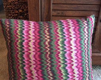 Striped Multicolored Gold Glitter Throw pillow