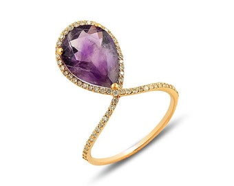 Amethyst Diamond and 18 K Gold Ring