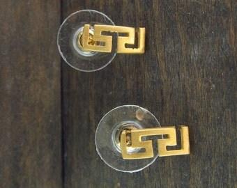 Meander (Greek key) silver earrings