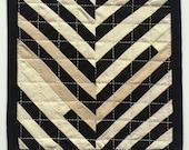 Modern Dollhouse Quilt, Strippy Quilt, Black and Cream 1:12 scale