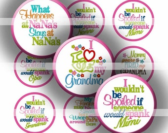 "Digital Collage Sheet - Grandparents - 1"" Digital Bottle Cap Images"