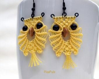 Handmade Macrame Owl Earrings