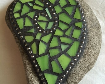 Green heart mosaic stone paperweight love