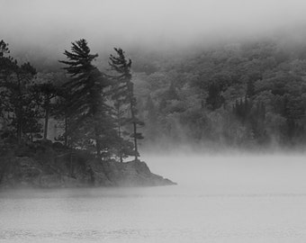 Algonquin Park Photograph, Lake of Two Rivers Photograph, Black and White Photo, Pine Trees, Island in the Fog Photo, Canadian Shield