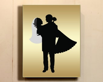 8x10 Wedding Party Silhouettes Bridal Silhouettes Gold Black Golden Wall Print Home Decor Printable Digital Art / Instant Download