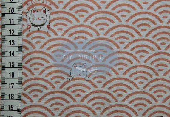 Maneki Neko And Japanese Seigaiha Motif Pink Salmon Fabric