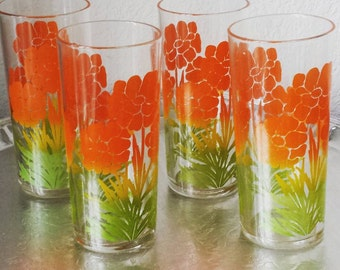 Libbey bright orange- Poppy  floral drinking kitsch glasses set of 4 highball treasury featured item
