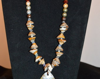Faux Oyster Shell Necklace