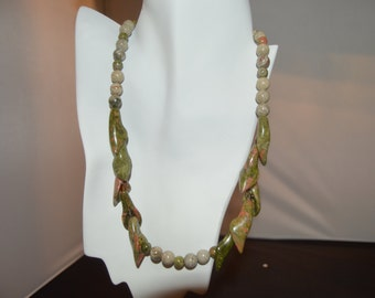 Unakite and Fossil Necklace
