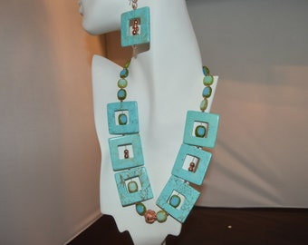 Howlite and Copper Earring and Necklace Set