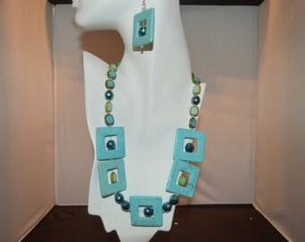 Turquoise and AB Bead Necklace with Matching Earrings