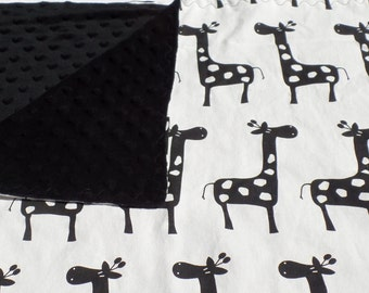 Modern Giraffe Minky Backed Baby Blanket