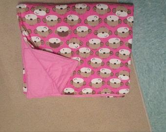 pink monkey baby blanket