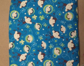 teal monkey baby blanket