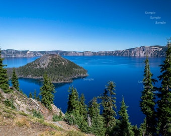Photograph Print, Crater Lake National Park on Clear Day, Oregon, Cascades