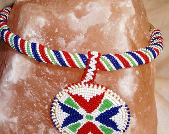 Beaded Red Blue and Green - beautiful hand beaded art work.
