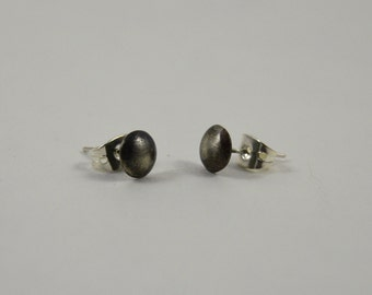 Patinated sterling silver dome earrings