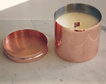 Rose Gold/ Copper tinted Soy Candle, hand-poured with 100% soy wax and essential oils