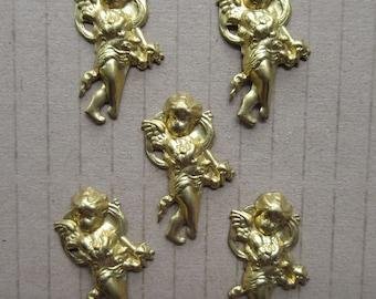 15 Circa 1980 Vintage Brass Cherubs Angels Valentine Stampings