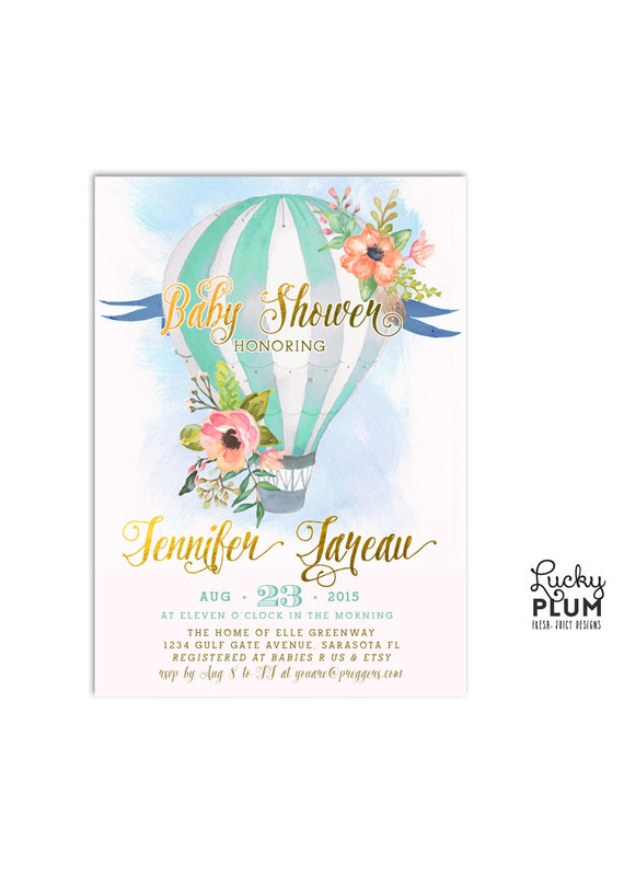 Hot Air Balloon Baby Shower Invitation / Watercolor Baby Invite / Mint