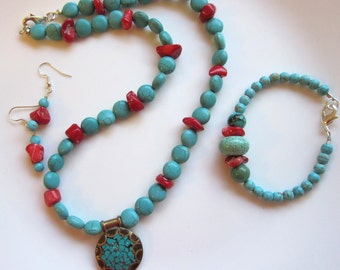 Turquoise and Red Coral Necklace Earrings Bracelet Set