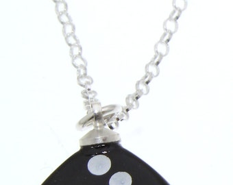 Black D6 Dice Pendant on Sterling Silver Chain