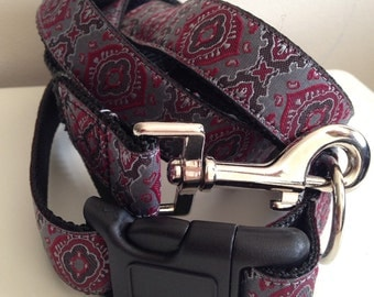 1inch Red and Gray Medallion Leash and Collar Set
