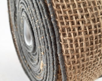 "Burlap Ribbon with Grey Border 2"" Wide x 2 Yards Jute Ribbon Modern and Rustic Trim"
