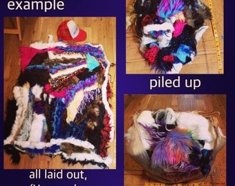 FauxFur Scrap Bag - Only SMALL pieces - craft costume diy projects monster fake fun vegan fur multicolored FREE Shipping in Usa