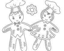 Gingerbread Boys & Girls Vintage Hand-Embroidery Pattern PDF