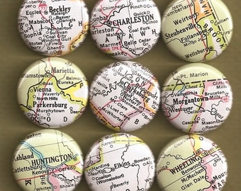 One Inch Magnet Set - West Virginia Map - One-of-a-kind Set