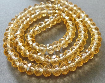 Sparkly Faceted Light Gold Crystal Rondelle Beads