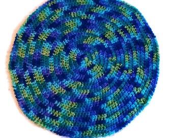 Blue/Green/Purple Variegated Round Crocheted Car Seat Blanket - Baby Afghan - Handmade Nursing Blanket - Circle Afghan - Ready to Ship