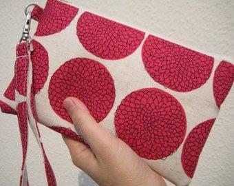 Wedding Clutch 2 pockets, medium,pink,cotton,discount plan,wristlet --Chrysanthemum pink