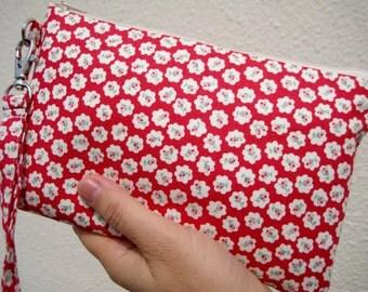 Wedding Clutch 2 pockets,red,flowers,medium,wristlet,discount plan set,cotton  --- Tiny flowers