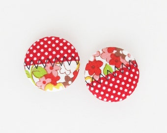 Fabric Buttons 1 Inch | 25mm Red Buttons | Polka Dot Fabric Covered Shank Buttons