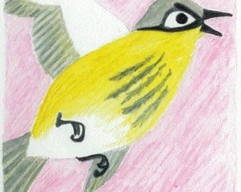 PAINTING Flying Goldfinch one of a kind original Artwork watercolor pencil painting drawing
