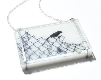 Uncaged Bird Glass Necklace, Stained Glass Necklace, Bird Glass Necklace,  Nature Glass Necklace, Stained Glass Jewelry