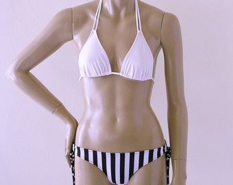 Brazilian Bikini Bottom with Tie Sides and Triangle Bikini Top in Black and White Stripes