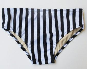 Men's Black and White Vertical Stripe Swim Brief Swimwear in S.M.L.XL.