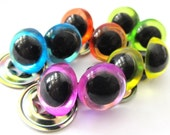 12mm Craft Eyes - 5-Pair Pastels Combo Pack - Translucent Pink, Orange, Sky Blue, Lime, and Yellow