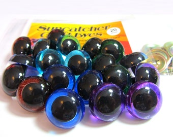 15 Pair of 20mm Suncatcher Craft Eyes in Translucent Blue, Sky Blue, Green, Brown, and Purple