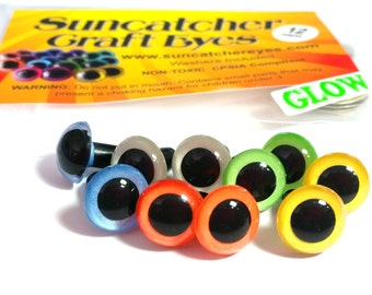 5 Pair of 12mm Glow-in-the-Dark Craft Eyes:  Blue, Green, Orange, Yellow, and White