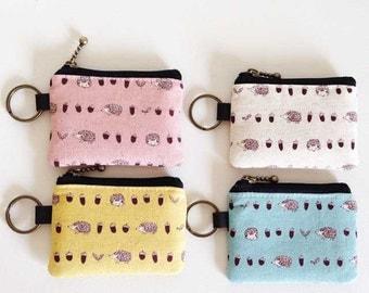 Key/coin purse - hedgehog and acorns