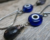 Evil Eye earrings ... antique sterling silver / lampwork glass / iolite / hand forged earwires